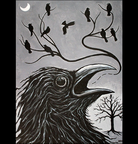 Arnold Sauther: Caw-ling.  Acrylics.