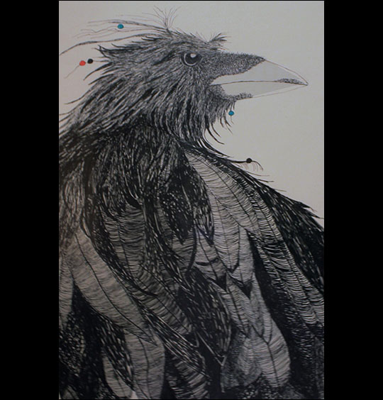 Linda Sauther: Warrior Crow.  Pen and ink.