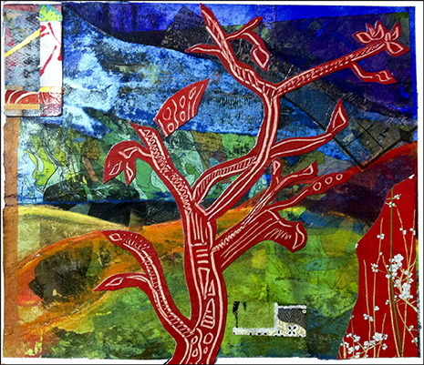 Cheryl Mirer: Red Tree -- Mixed Media Collage