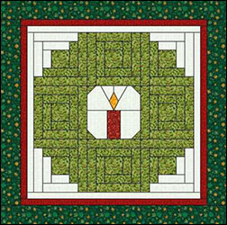 Log Cabin Quilt pattern with holiday design