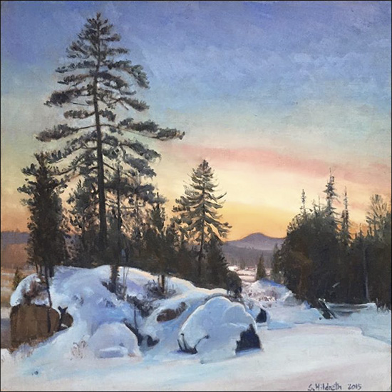 Sandra Hildreth: Winter Twilight (Saint Regis Mountain). 12 x 12