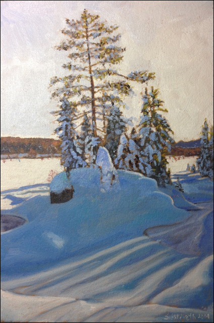 Sandra Hildreth: Snow Shadoes.  Oil. 8 x 6.